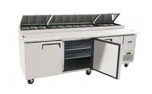 3 Door Refrigeration Preparation Table Including 12x 1/3 GN Pan Option PIZZA
